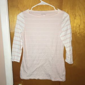 Tops - Quarter sleeved baby pink and white striped shirt